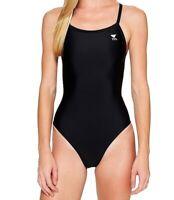 TYR Women's Swimwear Black Size 28 One-Piece Performance Cutout-Back $59 #611