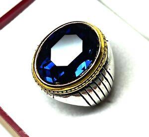 55.80 Cts Sterling Silver Charming Tanzania Tanzanite Men's Ring Size 10 US R-14