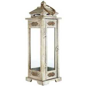 Lantern 22 3/4 in. Tall Wooden Carved Design in Antique Gray with Swing Latch
