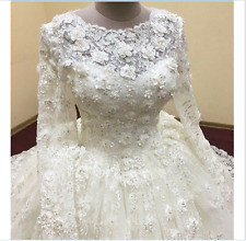 vestido de noiva praia Long Sleeve with hand made Flowers Lace Wedding Dress