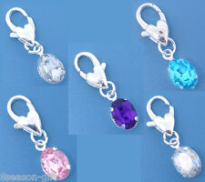 20 Mixed SP Rhinestone Clip On Charm Fit Chain Bracelet
