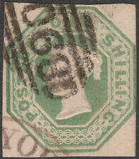 1847/54 SG55 1s GREEN EMBOSSED CUT SQUARE 3 LARGE MARGINS WINDSOR 890