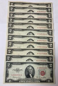 1953 $2 Red Seal Notes - Lot of 11   - various serial #'s - XF-AU