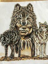VTG HEAT PRESS TRANSFER Indian wolf headdress pack Native American spirit hood