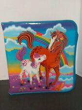 Vintage Lisa Frank Rainbow Horses Padded 3 Ring Zipper Binder RARE 90's