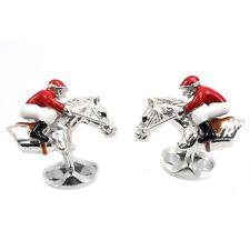Deakin and Francis Sterling Silver & Enamel Horse & Jockey Cufflinks Racing