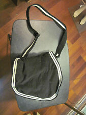 black thin corduroy style white trim lined shoulder bag purse - unbranded