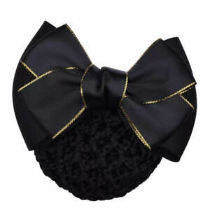 ERA Andrea  Hair Bow Barrette Bun Snood - Black Satin  With Gold Edging
