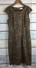 Calvin Klein Animal Print Ponte Knit Sheath Dress Career Cocktail M 8 10