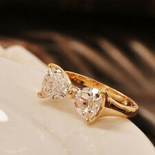 Charms Crystal 18K Gold Plated Finger Bow Wedding Engagement Zircon Ring
