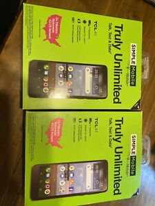 LOT OF 2 Simple Mobile  TCL A1 16GB Black Android 8.1 Oreo TCL A501DL Cell Phone