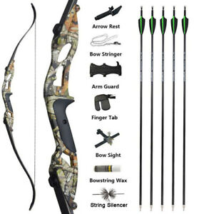 "56"" Archery Recurve Bow Set Takedown Carbon Arrows Hunting Shooting 30-50lbs"