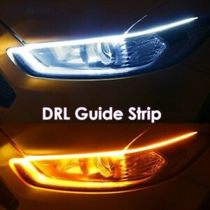 2*Ultrafine DRL Running Light Flexible Soft Tube Guide Car LED Strip Turn signal