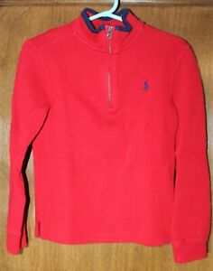 Polo Ralph Lauren boys quarter zip sweater 7 RED quarter zip cotton mock