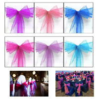 Wedding Party Organza Sashes Chair Cover Wider Fuller Bow With 100 Mixed Colour