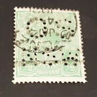 Australia 1913 - KGV  used 1/2 d green perf OS NSW stamp dated stamp Jan 1921