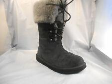 Ugg Australia Black w/ Gray Shearling Cuff Lined Montclair Boots 1892 Wmn Sz 6 M