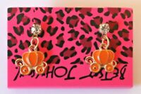 Betsey Johnson Crystal Rhinestone Enamel Pumpkin Carriage Post Earrings