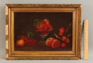 19thC Antique Folk Art Primitive Fruit Still Life Oil Painting Apple Pear Grapes
