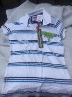 Superdry Ladies White Blue Stripe Polo Shirt Small Bnwt