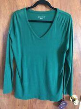 NWT Ava & Viv Plus Size 4X Top  Long Sleeve Green V-neck Tee shirt