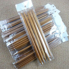CARBONISED SET 5 DOUBLE POINTED SMOOTH  BAMBOO KNITTING NEEDLES SIZES 2MM-10MM,