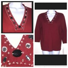 First Issue Liz Claiborne Womens Small Jeweled Sweater Red S Embellished Top New