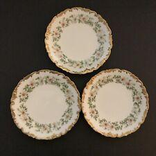 3 Limoges T&V Daisy Flowers Heavy Gilded Gold Scalloped Edge Plate DULIN 7  3/8