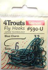 SALMON FLY HOOKS BLUE CHARM, Size #6, Blue finished, classic salmon hook