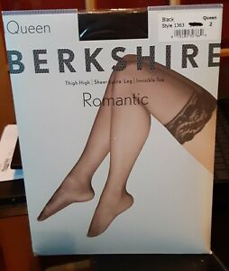 NEW, Berkshire Women's Plus Size Queen Romantic Lace Top Thigh Highs Black 1363
