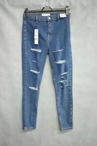 Topshop Joni High Waisted Skinny Distressed Jeans Blue W32 L30 New With  Tags