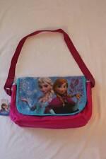 """New Girls Satchel Disney Frozen Anna Elsa 17""""X10"""" Pink Blue Messenger Book Bag"""