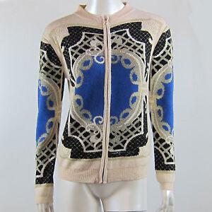 Slim Winter Knitted Beige Zip Up Jacket Beige Geometric Pattern Size 8