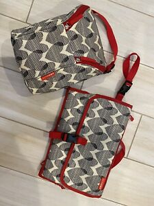 Skip Hop red heart changing Sta pad and Grab And Go Double bottle cooler bag set