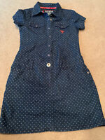 Guess Girls Blue Jean Denim Dotted Dress Size M 10/12