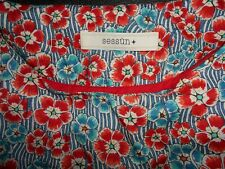 Sessun Red Blue Poppy Floral Print Dress XS Tana Lawn Cotton Liberty Of London