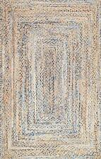 "Reversible 6 x 9 ""Braided Rug Rectangle Denim Jute Floor Mat Handmade Area Rug"