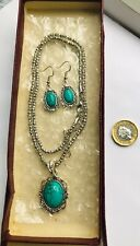 Style Turquoise Necklace & Earrings Set Vintage 1960's 14K Gold Filled Victorian