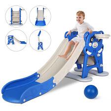 Folding Kids Slide Toddler Playground Climber Toy Basketball Hoop Outdoor Indoor