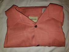 Joseph & Feiss 100% Silk Short Sleeve Casual Shirt Peach - XXLT 2XLT
