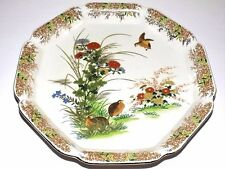 OTAGIRI Japan Gold Octagon Plate Platter Quail & Floral Asian Japanese Design