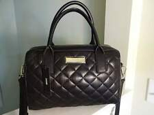 DKNY Soft BLACK QUILTED Lamb NAPA LEATHER SATCHEL Shoulder TOTE Bag $395