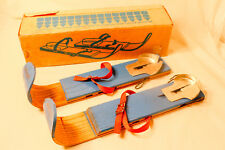 Vintage 1960s Snow Skates Creative Playthings Blue Wooden Sno Skates IN BOX