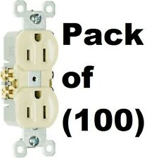 100 ea Pass & Seymour Standard 3 Wire 15A 125V 2 Pole UL Ivory Duplex Outlets