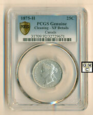 Canada 1875-H   25 cents Coin  PCGS Genuine Cleaning - XF Details