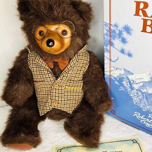 "Robert Raikes Bears Sebastian 1985 22"" Signed Jointed Box COA Wood Face Glasses"