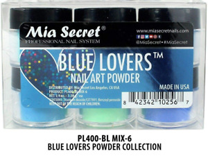 Mia Secret polvo acrilico set de 6 decorado para unas regalo de mujer blue lover