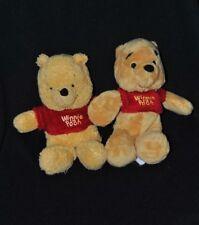 Lot 2 peluche doudou winnie l'ourson DISNEY NICOTOY jaune Pooh rouge 20 cm TTBE