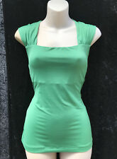 REVIEW Basil Green Stretchy Top with Shoulder Gathers sz 8