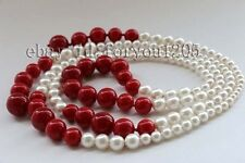 "Longest 48"" Natural 4-14mm Red White Round Shell Pearl Necklace #f2341!"